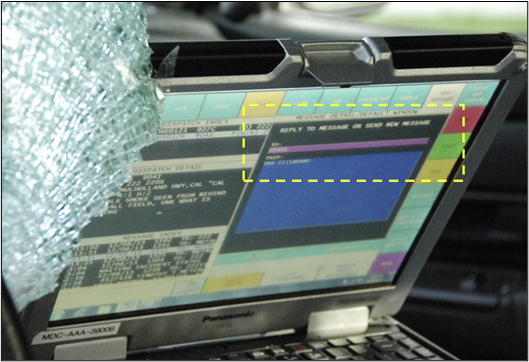 the police car's MDL screen as displayed moments before and during the crash