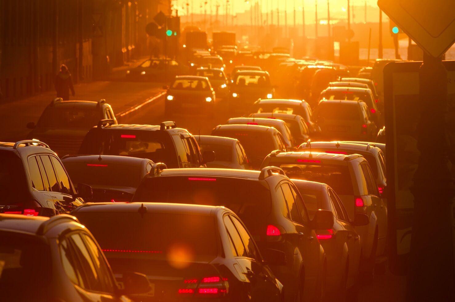 Traffic during sundown