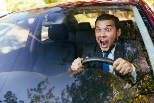 Driver showing road rage behavior